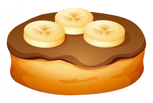 Donut com cobertura de chocolate e banana Vetor grátis