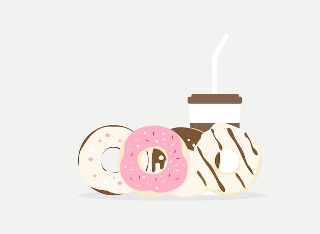 Donut de ilustração vetorial e bebida Vetor Premium