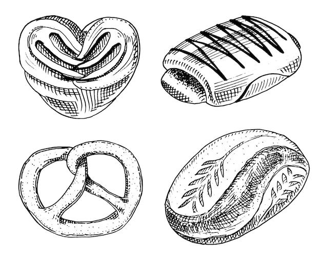 Donut de pão e pastelaria, pão doce ou bagels com chocolate. mão gravada desenhada no desenho antigo e estilo vintage para loja de padaria de rótulo e menu. Vetor Premium