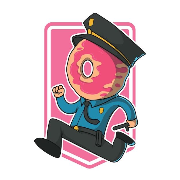 Donut policial executando ilustração. polícia, segurança, autoridade, conceito de design agradável Vetor Premium