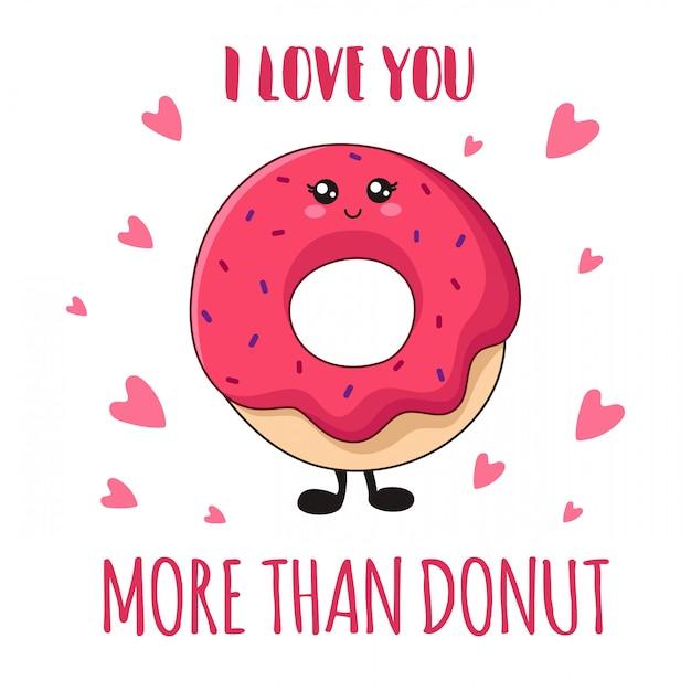 Donut rosa de kawaii dos desenhos animados sobre fundo branco Vetor Premium