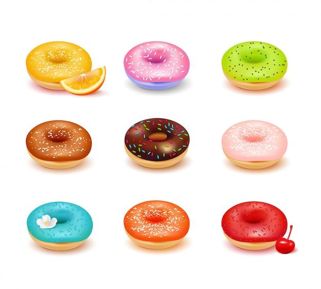 Donuts coloridos doces com várias coberturas e variedade de frutas frescas conjunto isolado na ilustração vetorial realista de fundo branco Vetor grátis