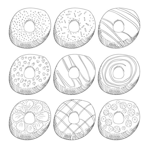 Donuts decorados com gelo contorno conjunto de ilustrações Vetor Premium