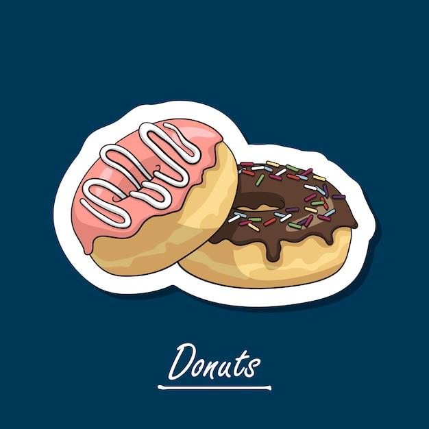 Donuts desenhados à mão com esmalte. Vetor Premium