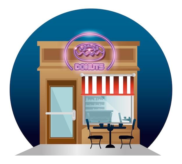 Donuts restaurante edifício fachada com rótulo de néon Vetor Premium