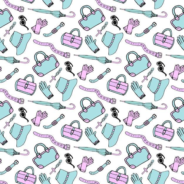 Doodle acessórios de moda desenhados à mão e padrões sem costura de bolsas em cores pastel azul e rosa. sketch shopping background Vetor Premium