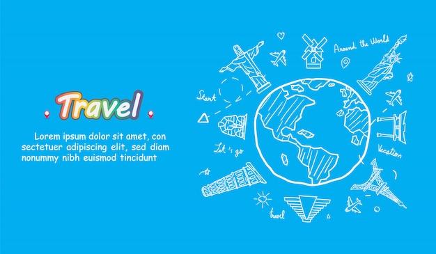 Doodle avião em todo o mundo conceito verão bandeira avião plano check-in com marco mundialmente famoso. Vetor Premium