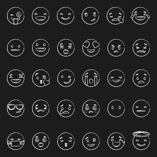 Doodle Branca Emoticons Com Diferente Emoções Ligado Pretas Fundo