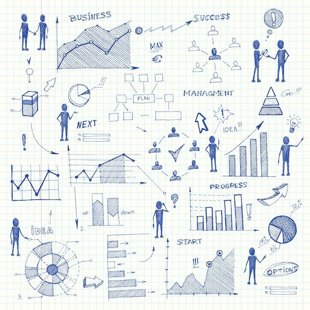 Doodle business charts infographics elements Vetor grátis
