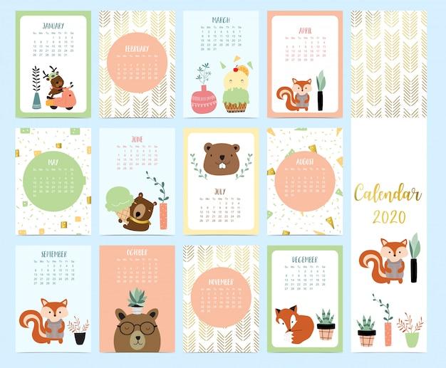 Doodle calendário animal 2020 conjunto com rena, raposa, esquilo, sorvete para crianças Vetor Premium