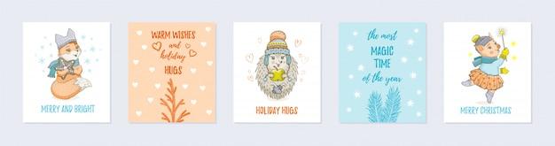 Doodle cartão de natal conjunto com animais fofos Vetor Premium