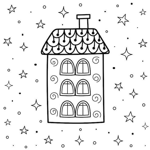 Doodle casa mágica à noite para colorir. cartão de bons sonhos preto e branco. esboço de fundo de fantasia. Vetor Premium