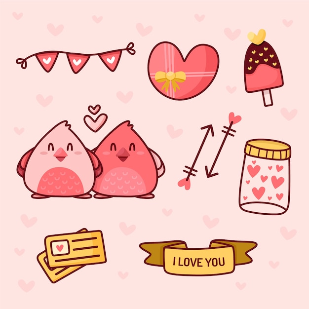 Doodle coleção de elementos do dia dos namorados Vetor grátis