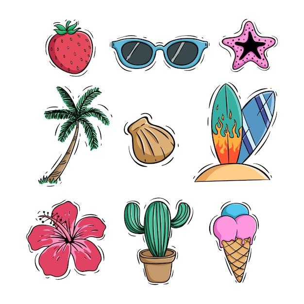 Doodle coleção de ícones de verão com sorvete de coco e cacto Vetor Premium