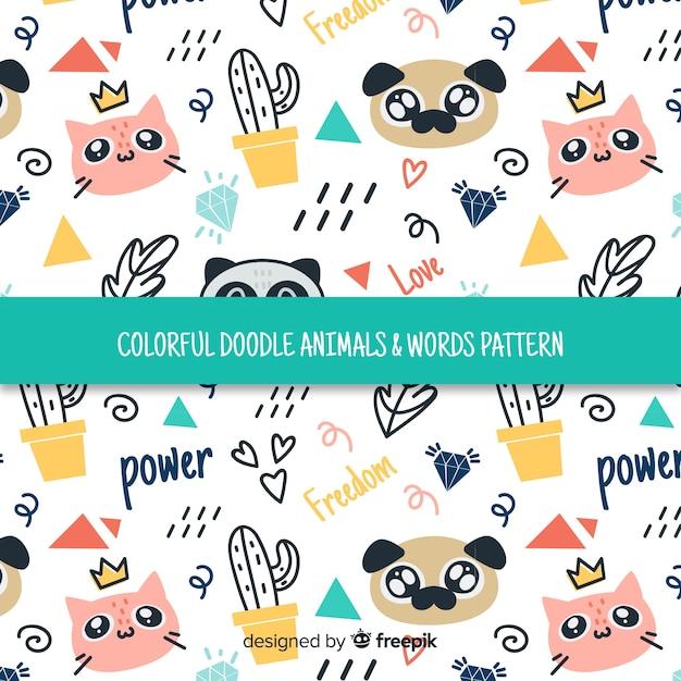 Doodle colorido animais domésticos e padrão de palavras Vetor grátis