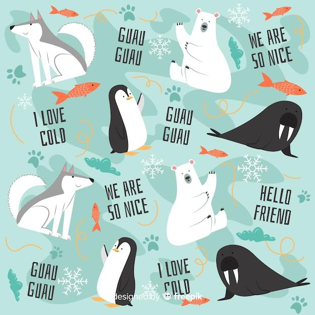 Doodle colorido animais polares e padrão de palavras Vetor grátis