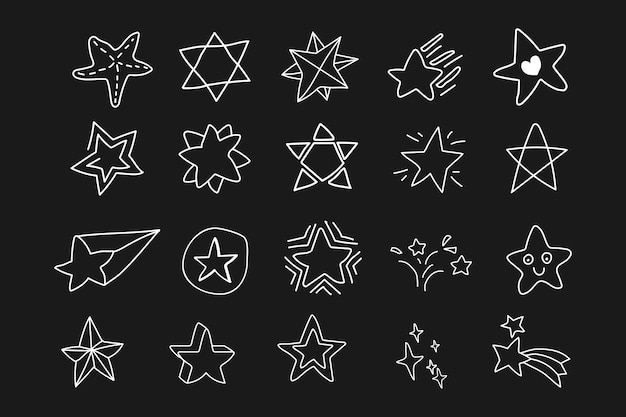 Doodle conjunto de estrelas Vetor grátis