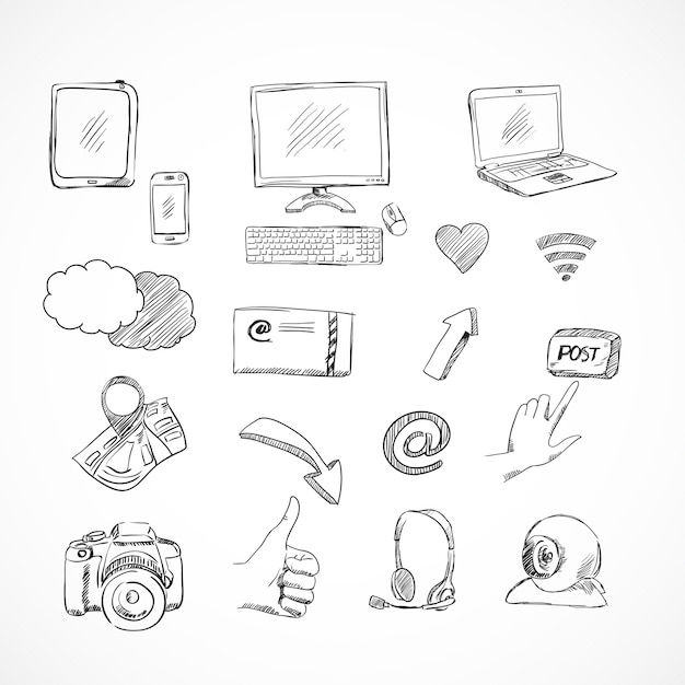 Doodle conjunto de ícones de mídia social de comunicações de rede para blog isolado Vetor grátis