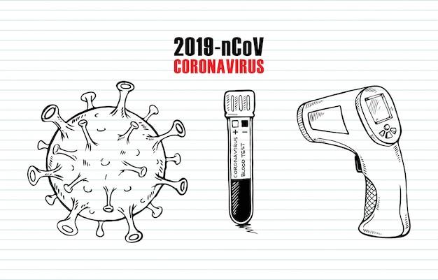 Doodle conjunto de vírus corona em fundo de papel Vetor Premium