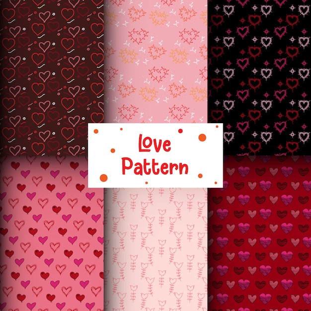 Doodle coração coleção padrão sem emenda Vetor Premium