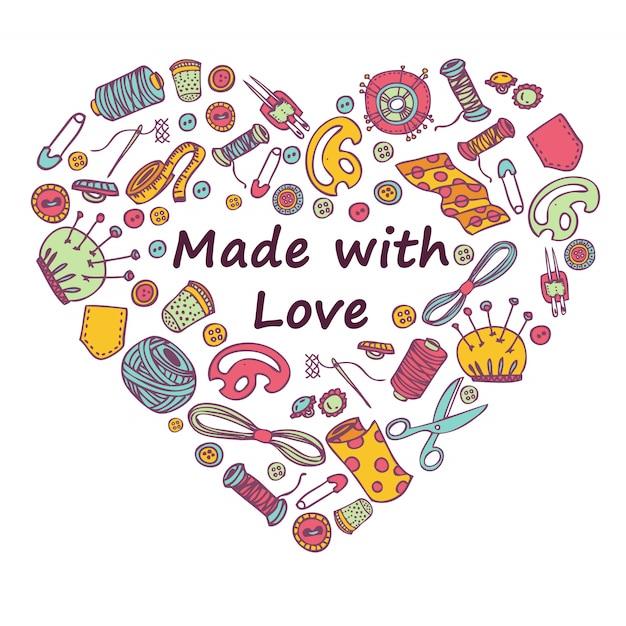 Doodle coração de costura e bordado Vetor Premium