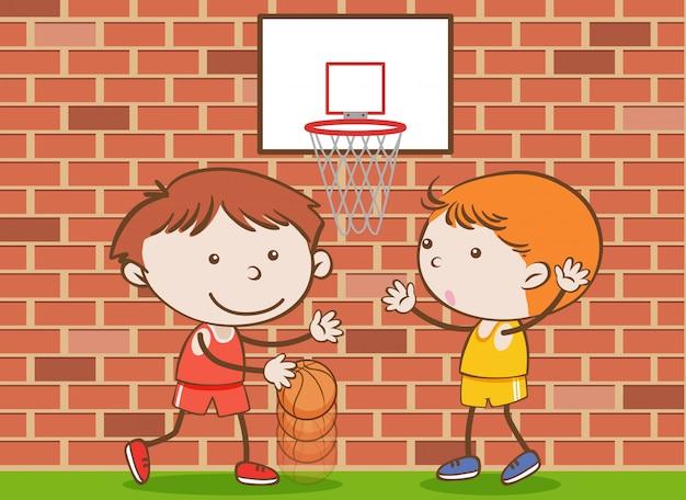 Doodle crianças jogando basquete na escola Vetor Premium