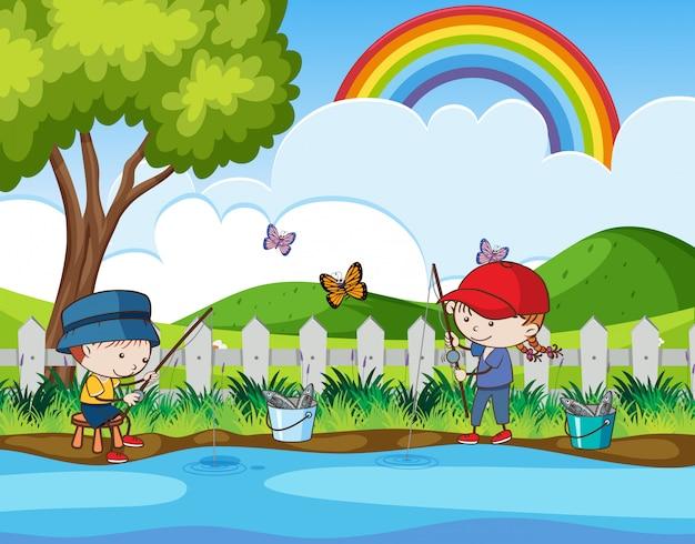 Doodle crianças pescando no rio Vetor Premium