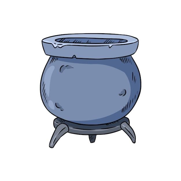 Doodle de caldeirão mágico Vetor Premium