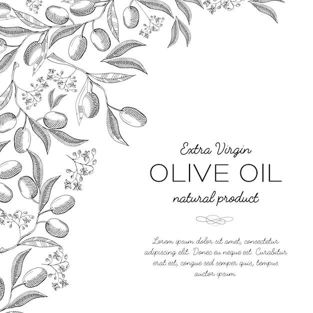 Doodle de cartão de design de tipografia com inscrição sobre ilustração de produto natural de azeite de oliva extra virgem Vetor grátis