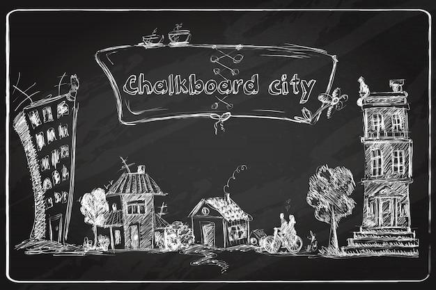 Doodle de cidade de lousa Vetor grátis