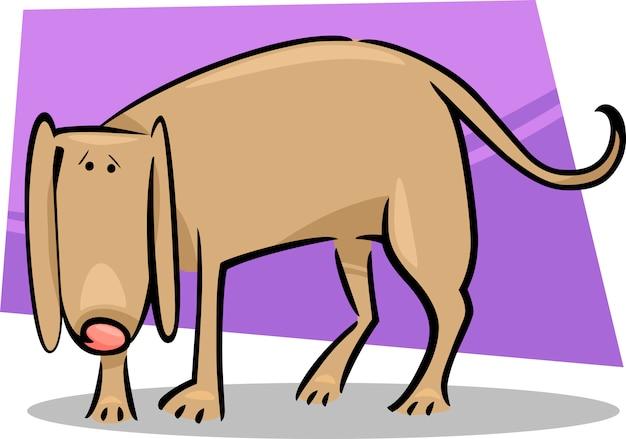 Doodle De Desenhos Animados De Cachorro Triste Vetor Premium