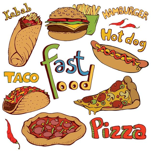 Doodle de fast-food. isolado, mão, desenhado, vetorial, ilustração Vetor Premium