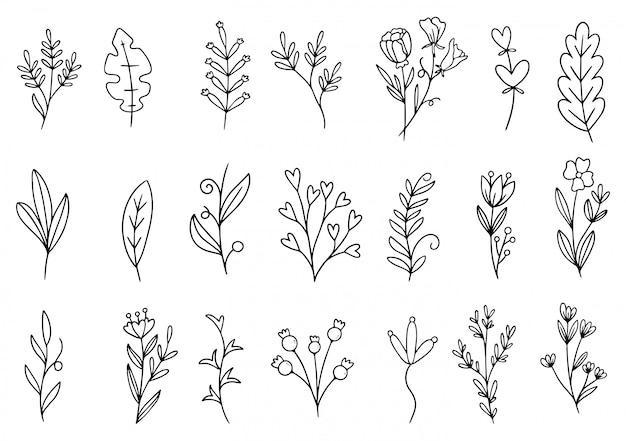 Doodle de flores desenhadas mão Vetor Premium