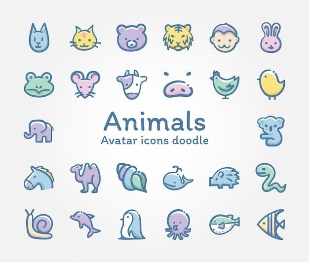 Doodle de ícones do vetor de animais avatar Vetor Premium