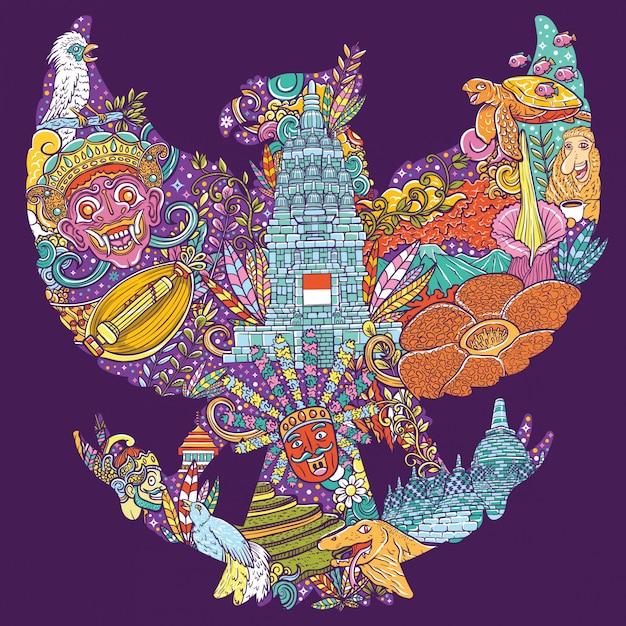 Doodle de ilustração colorida da indonésia com forma de pancasila garuda Vetor Premium