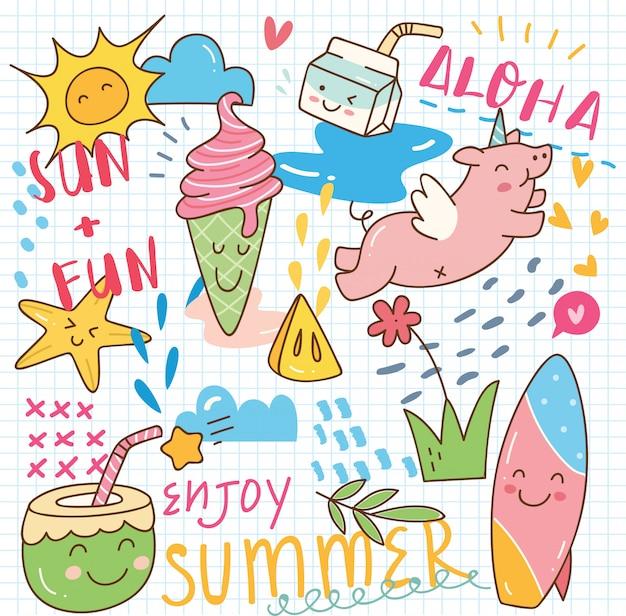 Doodle de kawaii de verão Vetor Premium