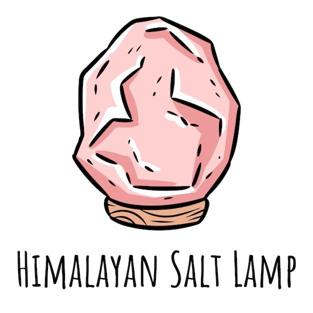 Doodle de lâmpada de sal rosa do himalaia. Vetor Premium