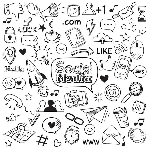 Doodle de mídia social. rabiscos de site na internet, comunicação de rede social e conjunto de ícones de mão desenhada web on-line Vetor Premium