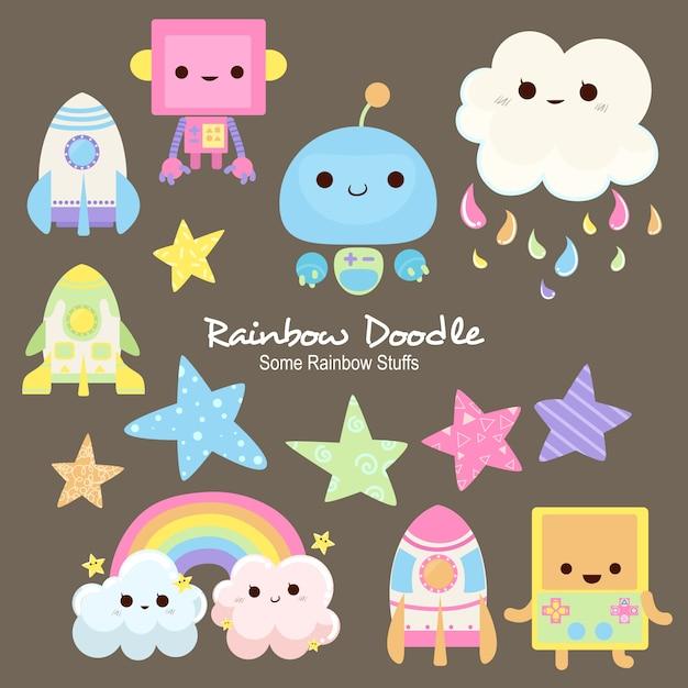 Doodle de objetos de arco-íris millie Vetor Premium