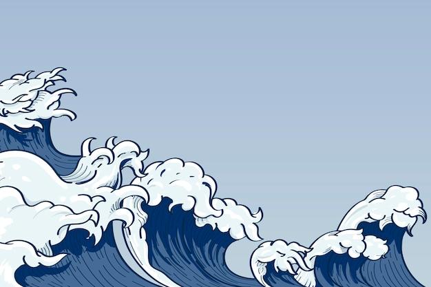 Doodle de onda japonesa Vetor grátis