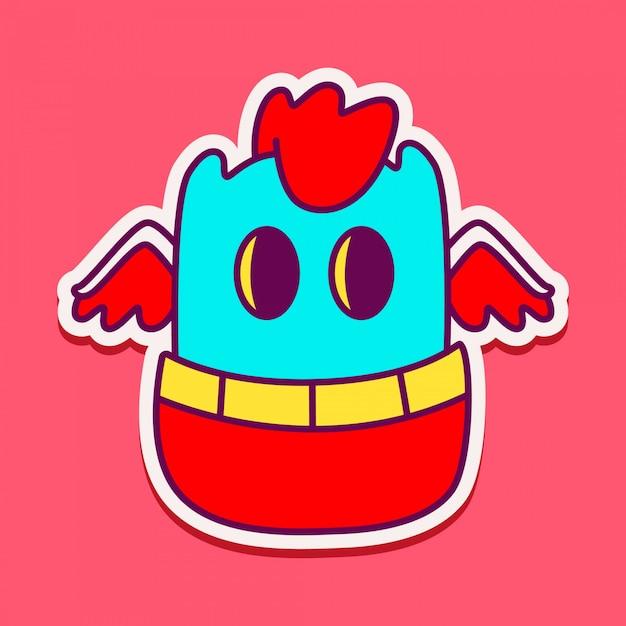 Doodle de personagem monstro bonito Vetor Premium