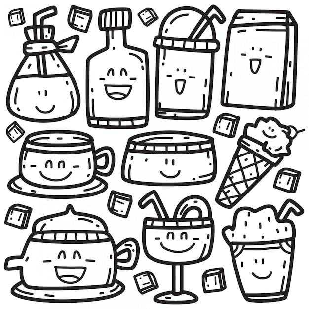 Doodle de várias bebidas Vetor Premium