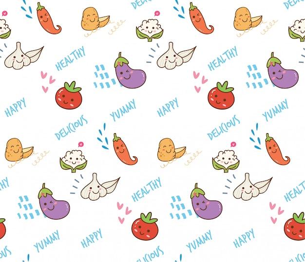 Doodle de vegetais fundo sem emenda Vetor Premium