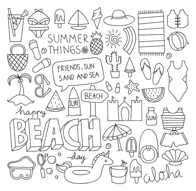 Doodle de verão conjunto de ilustração vetorial Vetor Premium