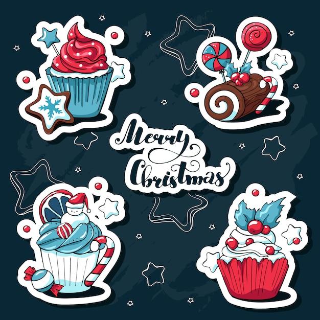 Doodle desenhado à mão conjunto de vetores de adesivos de natal bonitos com cupcakes e doces e elementos de natal e lettering Vetor Premium