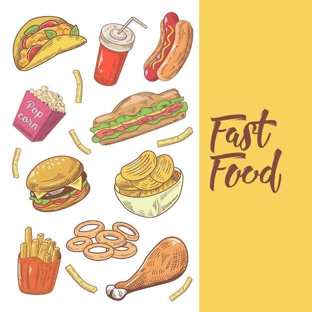 Doodle desenhado à mão de fast food com hambúrguer Vetor Premium