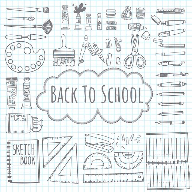 Doodle desenho de volta para o modelo de escola com material escolar. Vetor Premium