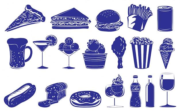 Doodle design dos diferentes alimentos e bebidas Vetor Premium