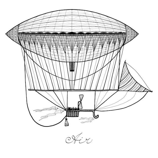 Doodle dirigível ilustração Vetor grátis