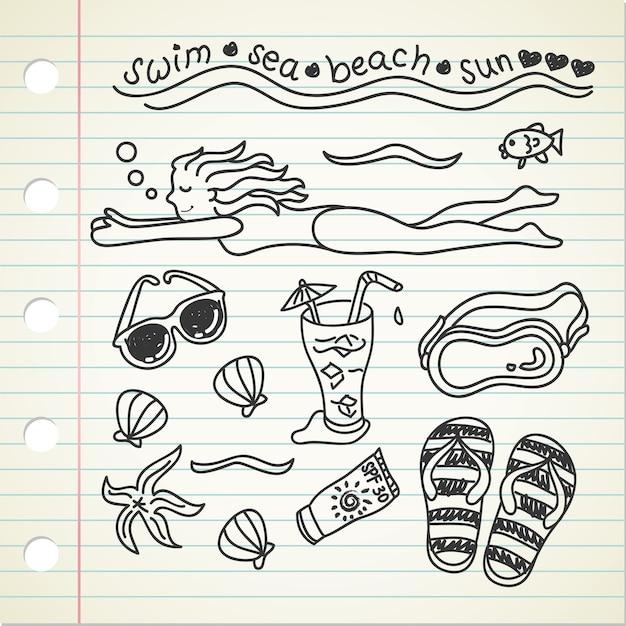 Doodle do tema da natação na praia Vetor Premium